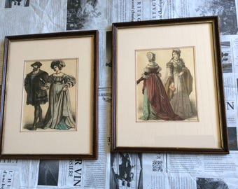 Two framed historical fashion plates, hand colored by Knilling. European fashion in the 18th century. Historic fashion Dressing room