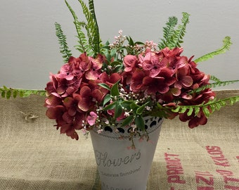Small Metal Planter with Hydrangeas, Fern, and Wildflowers by The Chattanooga Wreath Company