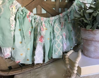 Rag Tie Garland, Mint Shabby Chic Fabric Garland, Farmhouse Decor, Spring, Farmhouse Nursery, Baby Shower Decor