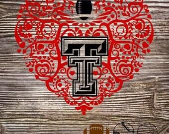 Tech Baseball Football Basketball Patterned Heart Texas SVG