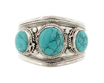 Tibetan Silver Turquoise Stone Cuff / Bracelet
