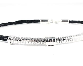 Flash of Silver~ Handmade Bracelet~ Sterling Silver Tube~ Genuine Black Braided Leather~ Hook Clasp Closure~ For Men or Women