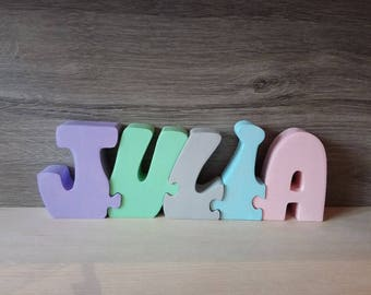 letters name Julia personalized wooden puzzle toy