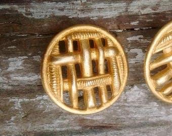 Destash Large Lattice Style Gold Color Metal Buttons Set of 2