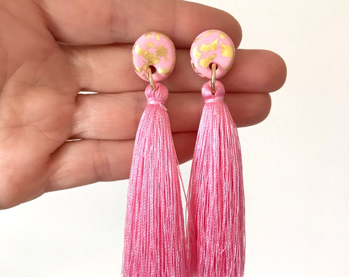 24k Gold Leaf Tassel Earrings - Handmade in Melbourne.  Choose from  Pink, Lemon, Blue and Lilac