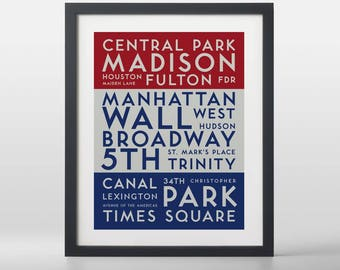 New York City (Manhattan) USA City Streets Typography Art Print