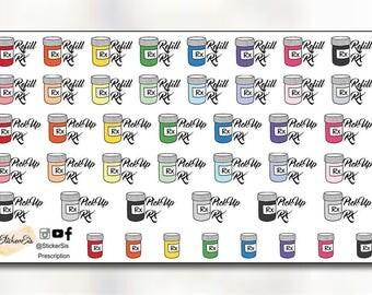 Prescription Refill Planner Stickers DI091