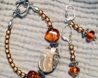 """7"""" Jasper and Amber Bracelet and Earrings"""