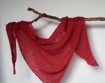 Coral alpacal/silk triangle scarf