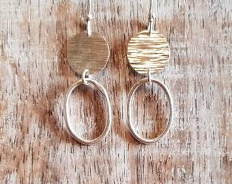 Silver loop earrings - hammered silver disc earrings - silver dangle earrings - silver loop earrings - organic loop earrings