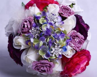 Hand-Tied Hydrangea and Rose Wedding Bouquet