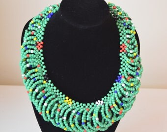 African Maasai Beaded Necklace | Green Mixed  Necklace | African Jewelry | Tribal Necklace |Unique Necklace |One size fits all |Gift for Her