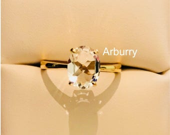 20k solid gold Natural Topaz solitaire gold ring