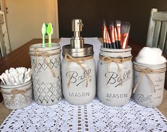 French Provincial 5 Piece Handpainted Mason Jar Range- Bathroom Set