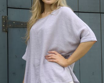Casual Loose Light Summer Baggy Top Ice Grey Half Sleeve Round Neck
