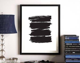 Abstract Print, Watercolour Wall Art, Modern Minimalist Painting, Black, Brush Stroke, Printable Digital Download, Large Poster, Ink