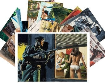 Postcard Pack (24 cards) Vietnam War and Foreign Affairs by Mort Kunstler Vintage Pulp Fiction Hardboiled Action Magazine CD3018