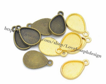 wholesale 100 Pieces /Lot Antique gold & Bronze Plated 10mmx14mm cabochon Tear Drop bezel trays charms(#0313)