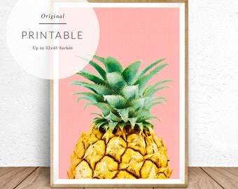 Pineapple Print, Modern Tropical Decor, Yellow, Pink, Green, Pineapple Poster, Tropical Fruit Art, Tropical Wall Art, Pineapple Printable