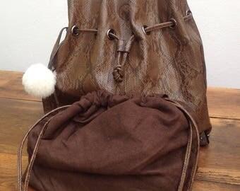 90s Vintage faux leather Hobo Hobo leather/eco///90s vintage Bag//90s vegan Bag//vintage shoulderbag//