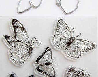 Tampons transparents et gabarits à découper Papillons