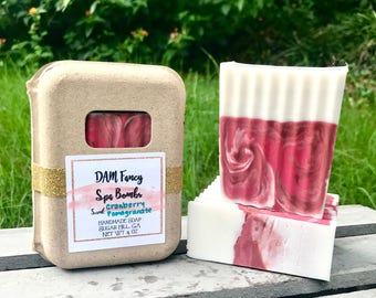 cranberry pomegranate soap- handmade bar soaps- Autumn soap- cranberry soaps- shea butter- swirled whipped soap- woman's natural gift-