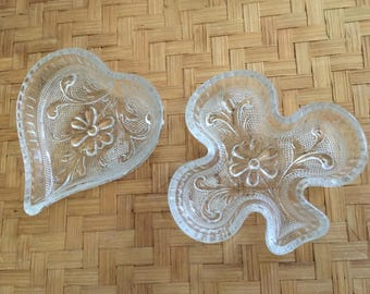 Vintage Tiara Glass Ashtrays, Vintage Glass Trinket Dish