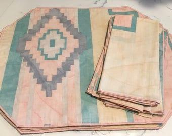 Vintage Southwestern Placemat and Napkin Set, Vintage Geometric Print Placemat Set, Pastel Linen Napkins