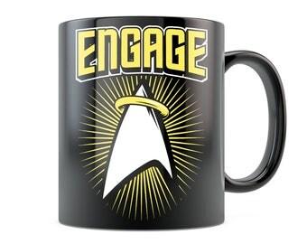 Trekkie Mug - Engaged - Picard Star Trek Wedding Gift Engagement Gift Starfleet Next Generation Inspired Coffee Mug Black/White 11oz 15oz