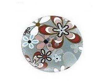 2 round buttons, sewing, scrapbooking FLEURI grey 4 cm