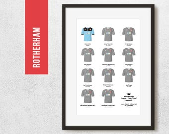 Rotherham 2014 League 1 Play Off Winners Team Print, Football Poster, Football Gift, FREE UK Delivery