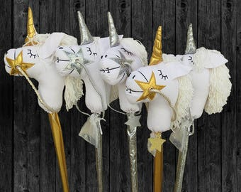Magical Handmade Unicorn - Baby gifts -new baby gift - baby keepsake,  party favor, birthday, kids stick horse- handmade stick horse-unicorn