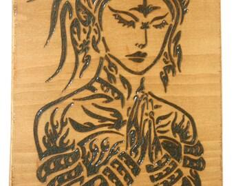 Decorative Wood Burned Namaste Hanging Sign