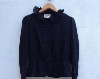 ON SALE 20% JUN Ashida Black Button Blouse  size 11 Rare Yohji Yamamoto Comme des Garcons Junya Watanabe Issey Miyake