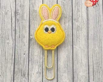 Bunny chick planner clip, Easter paperclip, embroidered planner clip, embroidered paperclip, felt planner clip, felt paperclip, Spring
