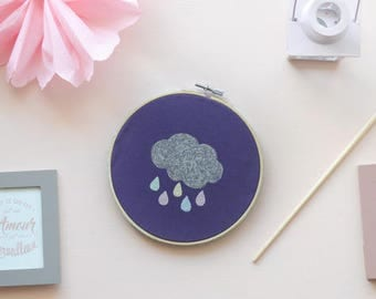 Drums embroidery decorated fabric in purple cotton and cloud with glitter paint