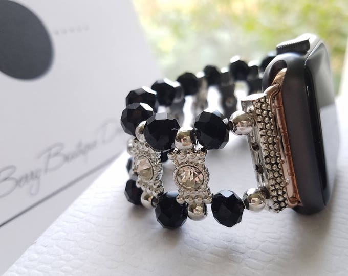 Featured listing image: Apple Watch Band 38mm  Apple Watch Band 42mm  Apple Watch Jewelry, Black Beads and Clear Stone