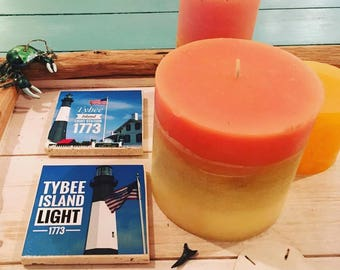Tybee Island Lighthouse Square Stone Tile Coasters, 4'' x 4'', Souvenir gift for vacation, lighthouse history, beach house decor
