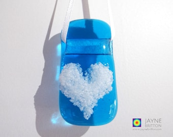 Blue and white heart light catcher, turquoise suncatcher, fused glass gift, window gift, stocking filler, teachers gift, gift under 5