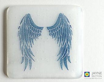 White Angel wings coaster, blue and white, fused glass, home decor, interior design details, gift for her, angelic gift, Archangel Gabriel