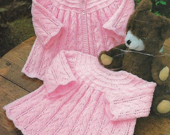 knitting pattern, baby girl's, smock dress, coat, pdf, digital download, instant download