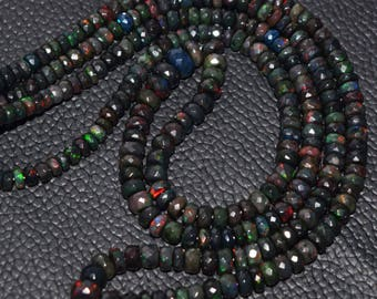 Natural Wello Black Opal Multi Fire Ethiopian Black Opal Faceted Rondelle Beads High Quality 7.5 - 4 MM Size 16 Inches Strand