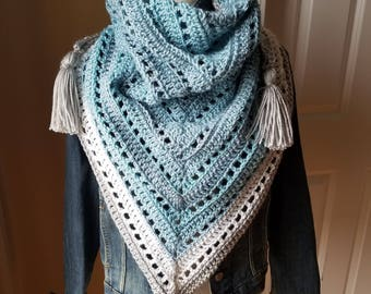 The Montauk- Boho Style Crochet Triangle Scarf with Tassels
