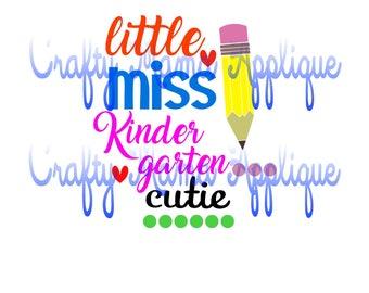 Little miss Kindergarten cutie. SVG,JPG,PNG, Silhouette, Scan-N-Cut, Cricut designs.