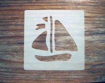 Sail Boat Stencil 10cm x 10cm 190micron Washable Reusable for Bathroom Tiles
