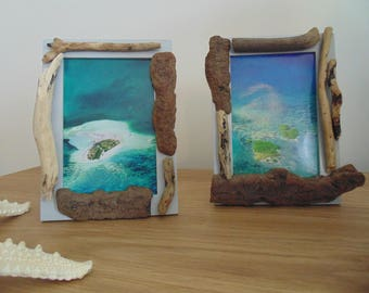 photo frames - set of 2-10 x 15 cm - Driftwood - deco sea - creations photo holder