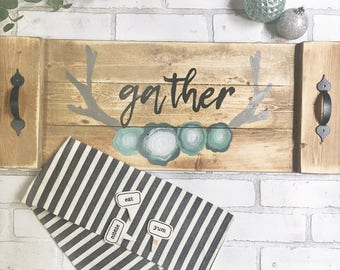 GATHER - SERVING TRAY -Tray with Handles - Antler -Tray for Ottoman - Holiday Decor - Hosting Gift- Handpainted - Personalized Decor