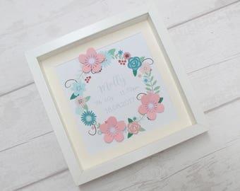 Personalised frame, girls room, nursery decor, personalised girls gift, bedroom accessory, children's frame