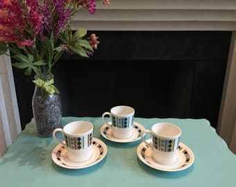 Vintage 1960s set of 3 coffee cups and saucers in fine bone china