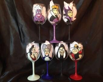 Disney Villains glitter glasses